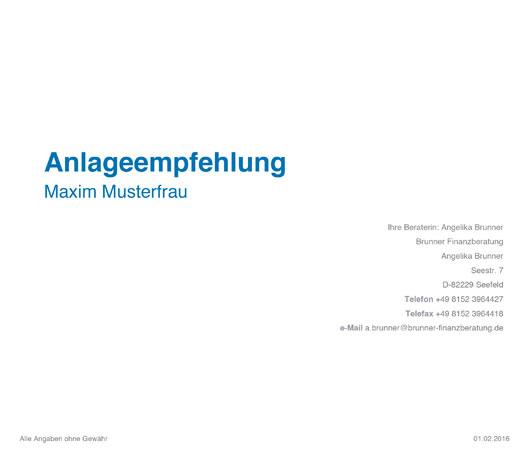 Anlageempfehlung Deckblatt Angelika Brunner